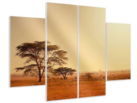 Hartschaumbild 4-teilig Weideland in Kenia