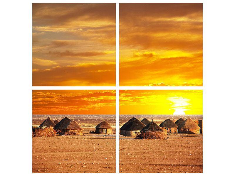 Hartschaumbild 4-teilig Afrikanisches Dorf