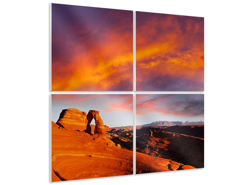 Hartschaumbild 4-teilig Sonnenuntergang im Canon