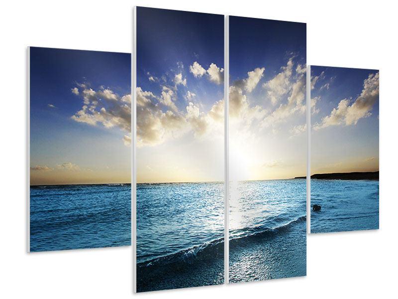 Hartschaumbild 4-teilig Das Meer im Sonnenaufgang