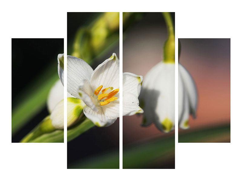 Hartschaumbild 4-teilig Schneeglöckchen XXL