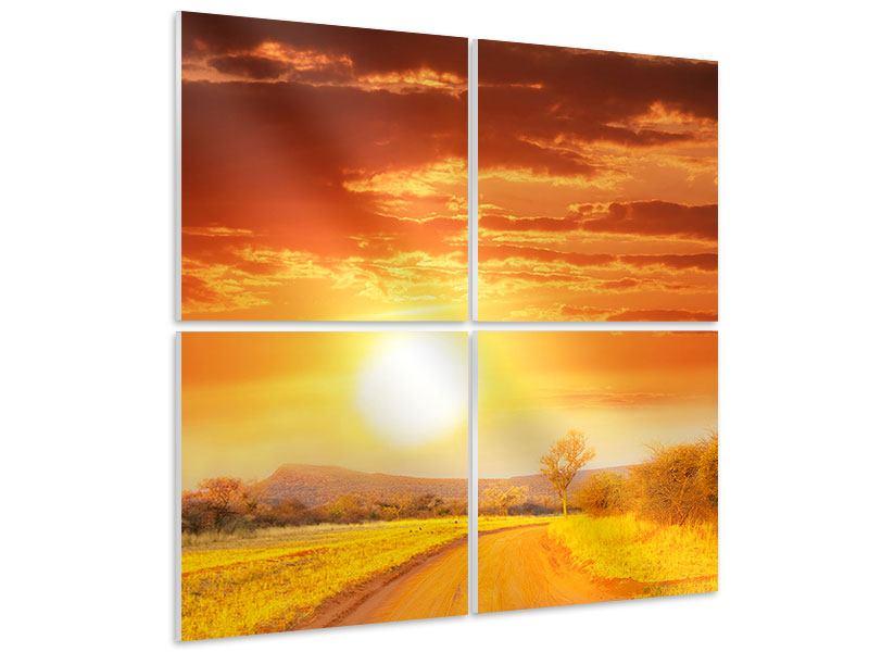 Hartschaumbild 4-teilig Sonnenuntergang in der Savanne