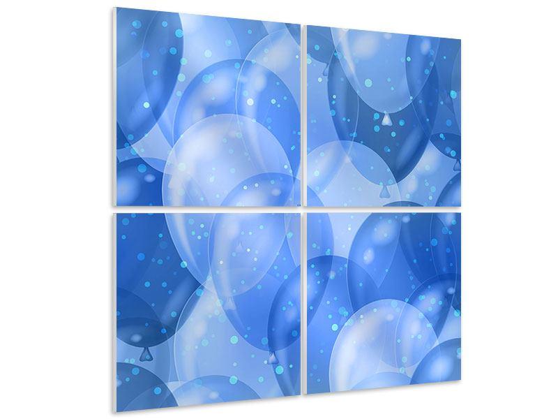 Hartschaumbild 4-teilig Blaue Ballons