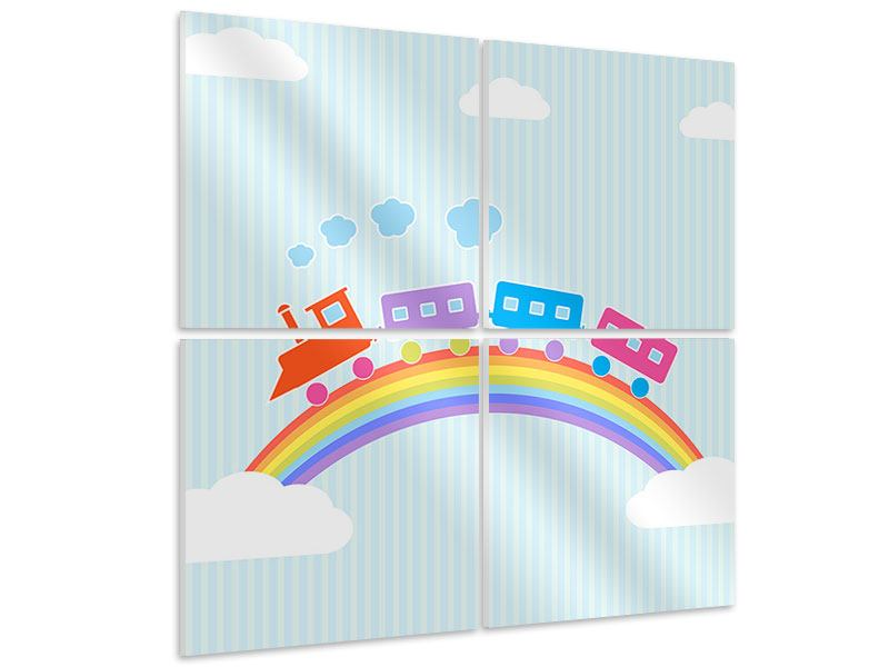 Hartschaumbild 4-teilig Der Regenbogenzug