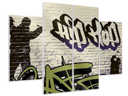 Hartschaumbild 4-teilig Graffiti Hip Hop