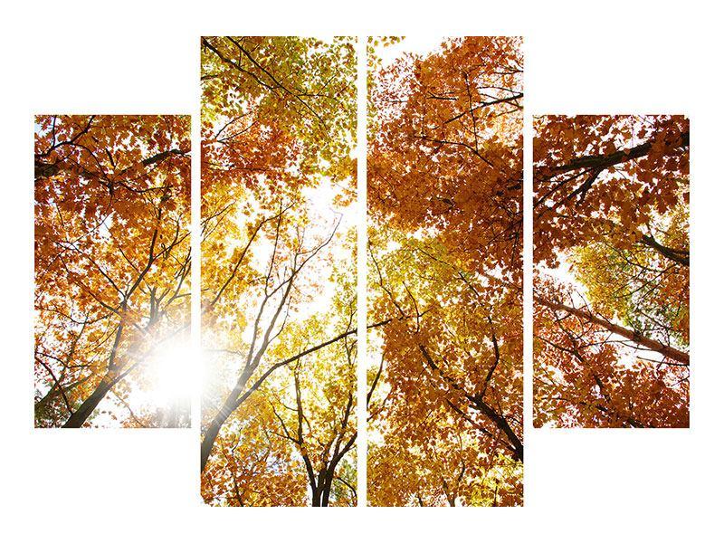 Hartschaumbild 4-teilig Herbstbäume