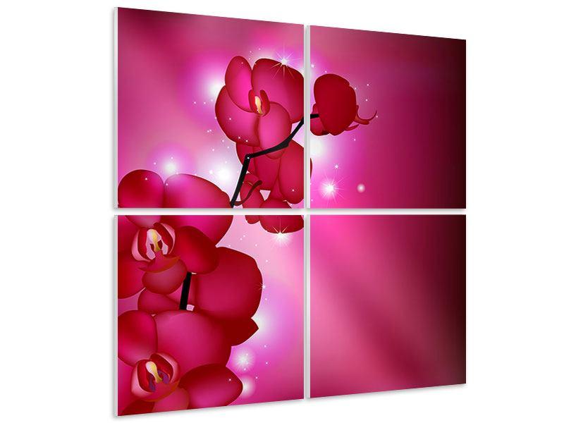 Hartschaumbild 4-teilig Orchideenmärchen