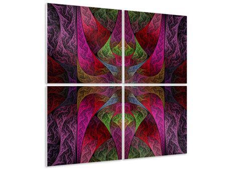 Hartschaumbild 4-teilig Fraktales Muster