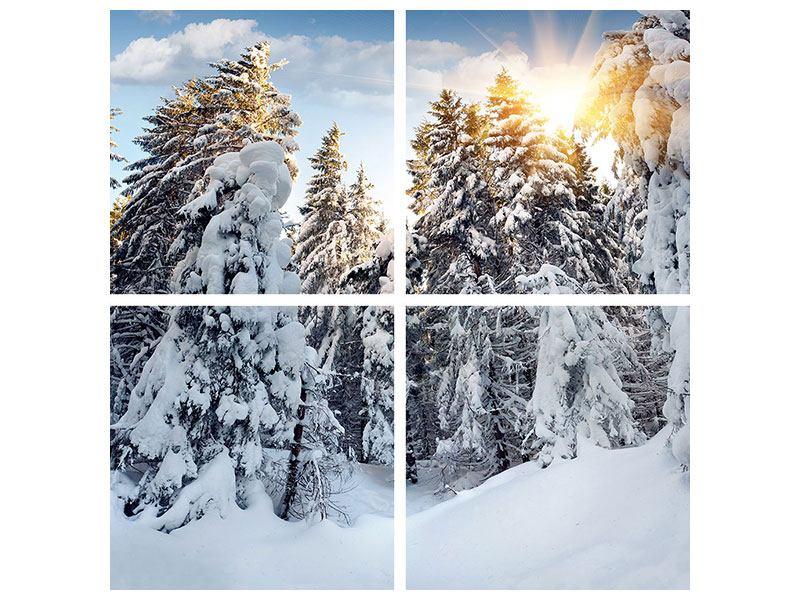 Hartschaumbild 4-teilig Tannen im Schnee