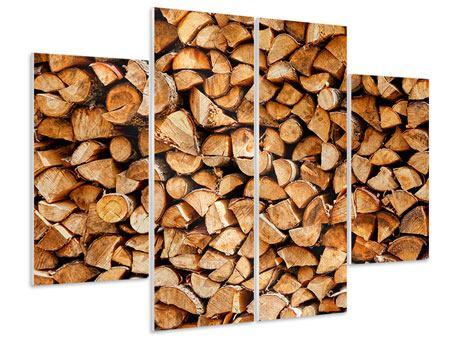 Hartschaumbild 4-teilig Gestapeltes Holz