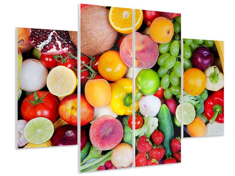 Hartschaumbild 4-teilig Frisches Obst