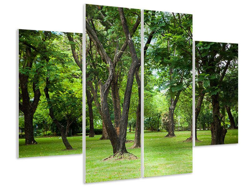 Hartschaumbild 4-teilig Kirschbaum-Garten