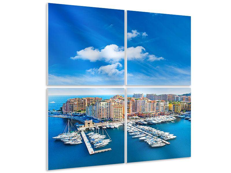 Hartschaumbild 4-teilig Skyline Panoramablick Jachthafen Monaco