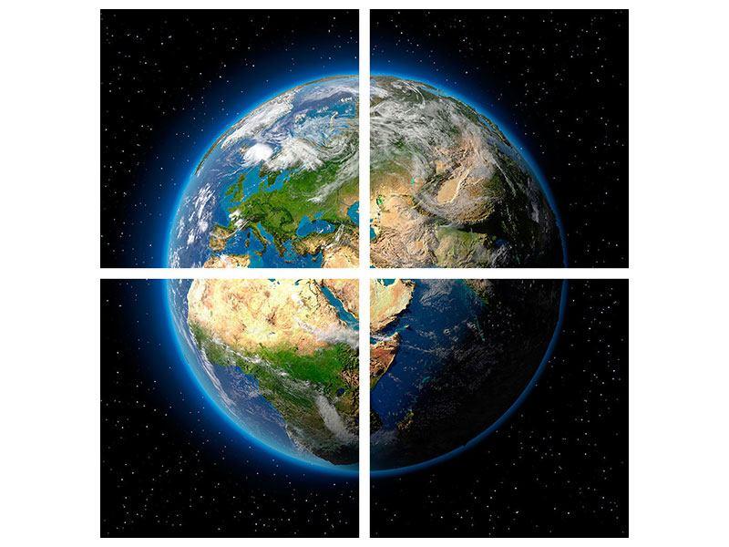 Hartschaumbild 4-teilig Die Erde als Planet