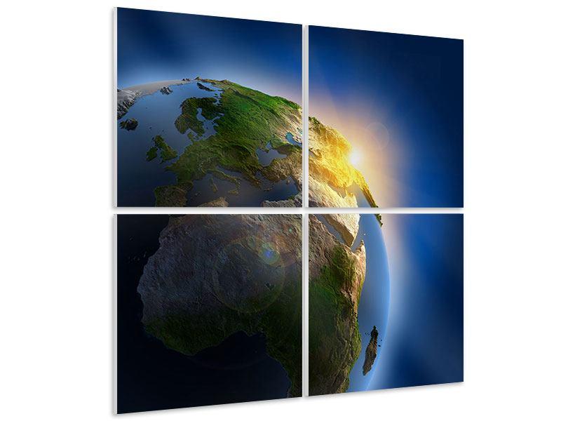 Hartschaumbild 4-teilig Sonne und Erde