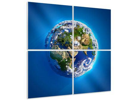 Hartschaumbild 4-teilig Planet Earth