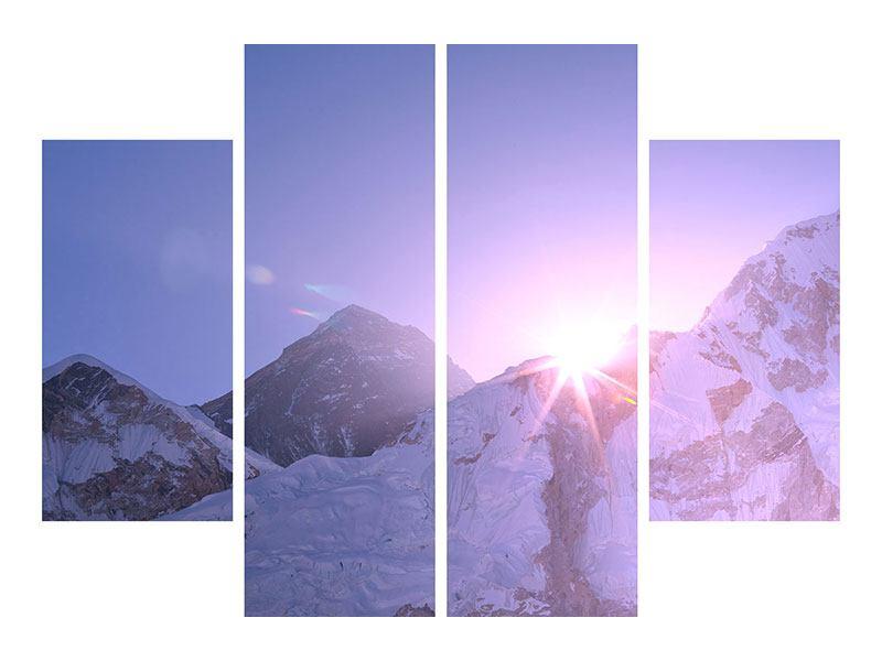 Hartschaumbild 4-teilig Sonnenaufgang beim Mount Everest