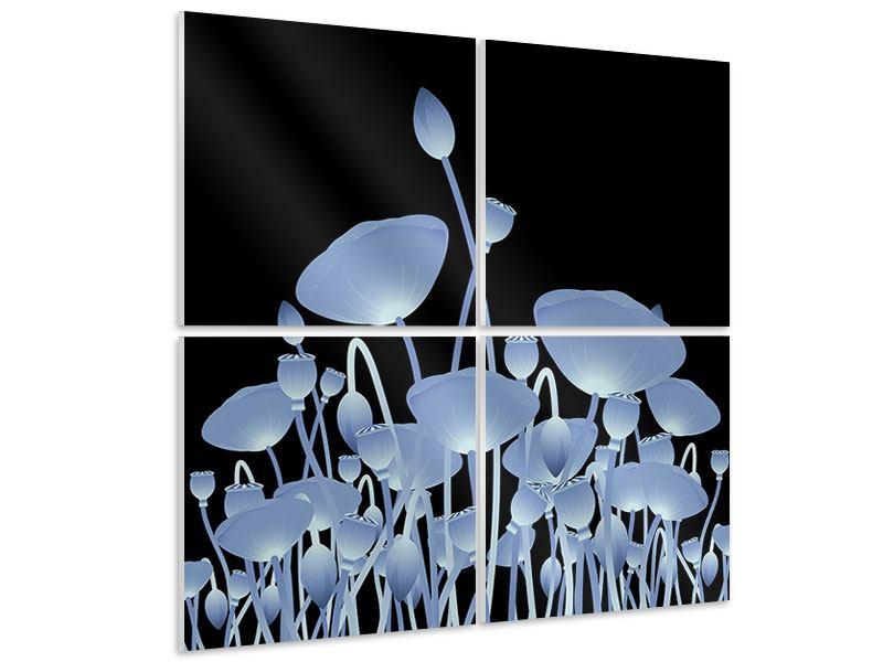 Hartschaumbild 4-teilig Futurische Blumen