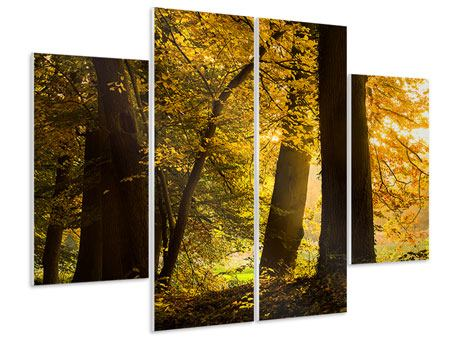 Hartschaumbild 4-teilig Herbstlaub