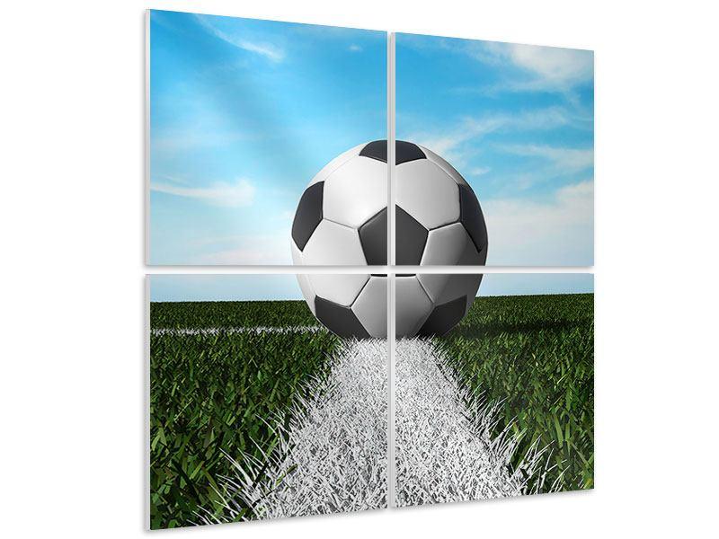 Hartschaumbild 4-teilig Der Fussball