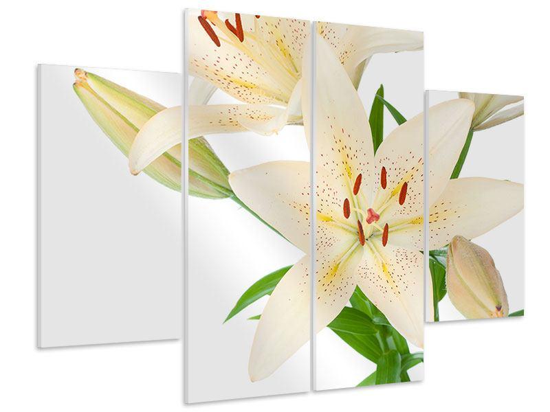 Hartschaumbild 4-teilig Weisser Lilienstrauch