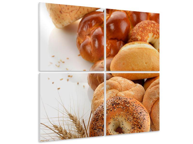 Hartschaumbild 4-teilig Frühstücksbrötchen