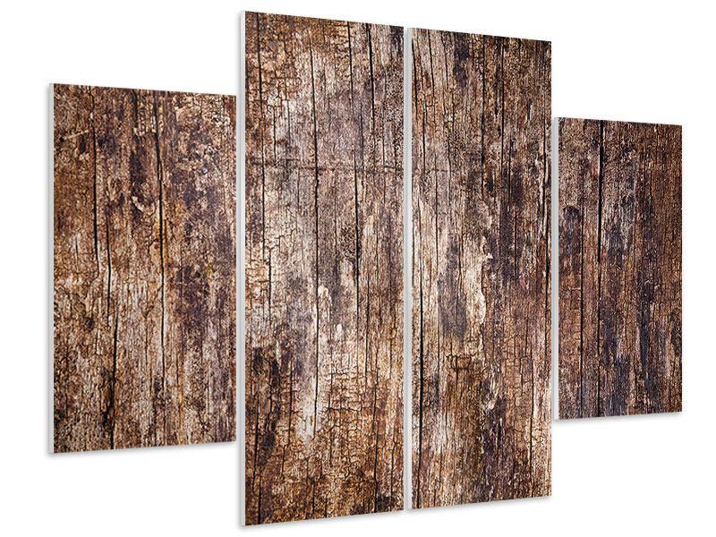 Hartschaumbild 4-teilig Retro-Holz
