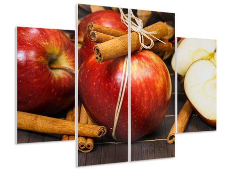 Hartschaumbild 4-teilig Äpfel