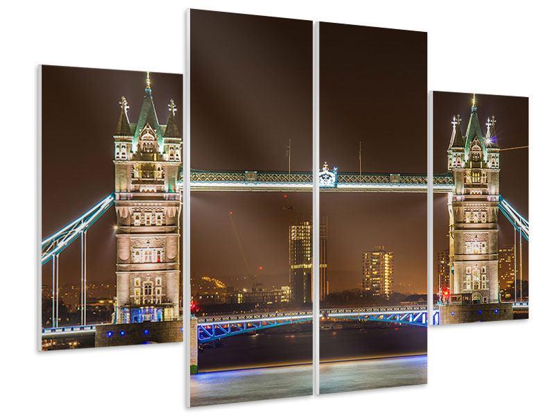 Hartschaumbild 4-teilig Tower Bridge bei Nacht