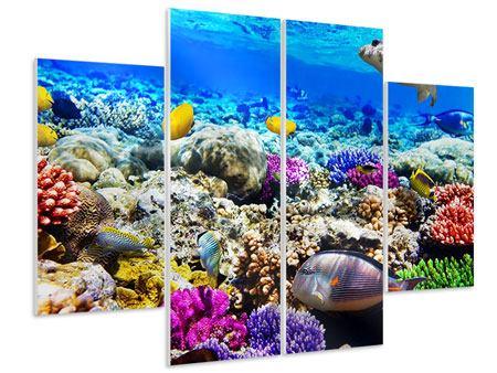 Hartschaumbild 4-teilig Fischaquarium
