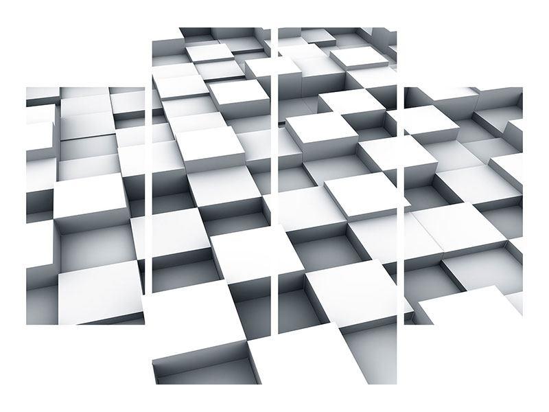 Hartschaumbild 4-teilig 3D-Kubus