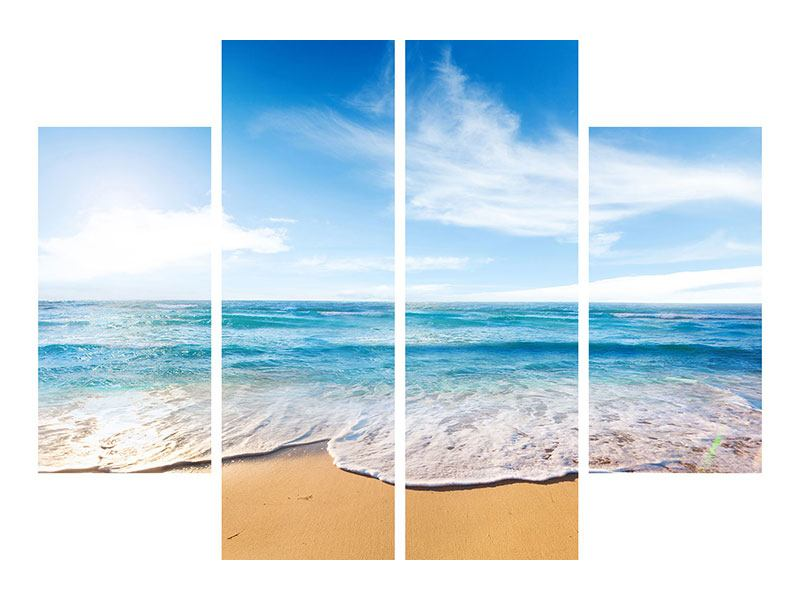 Hartschaumbild 4-teilig Spuren im Sand
