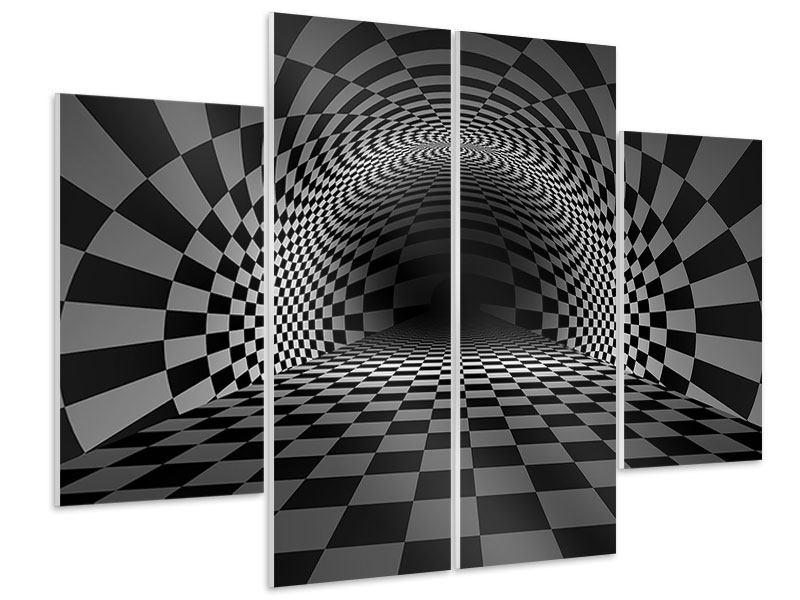 Hartschaumbild 4-teilig Abstraktes Schachbrett