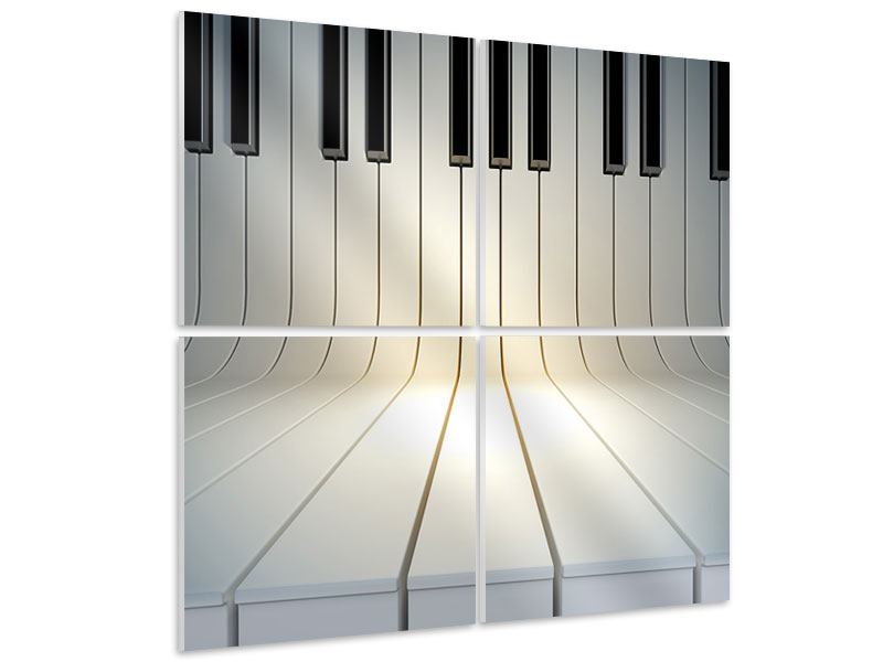 Hartschaumbild 4-teilig Klaviertasten