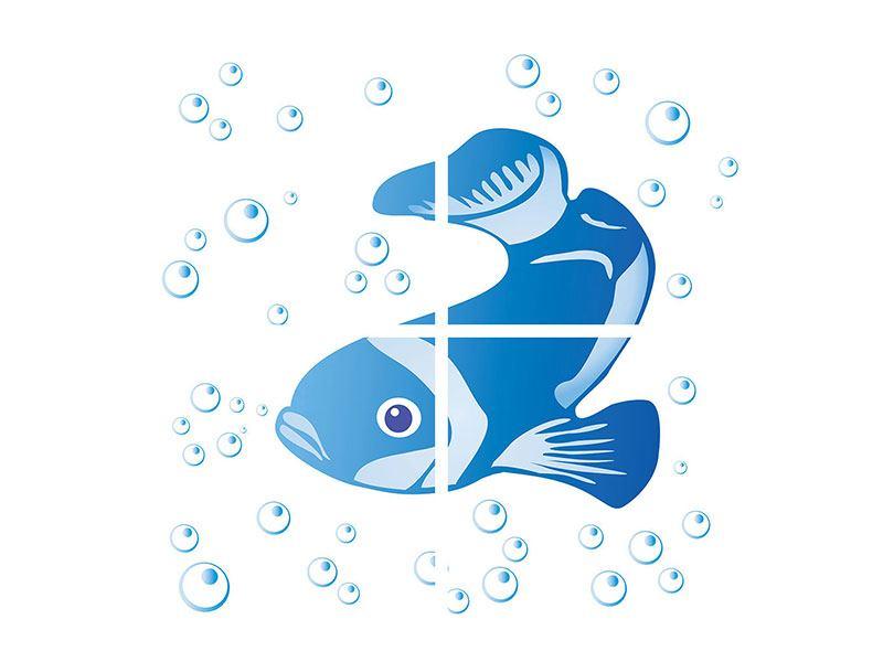 Hartschaumbild 4-teilig Fischi
