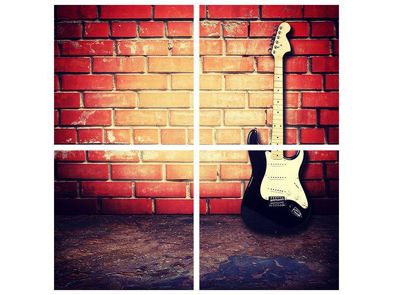 Hartschaumbild 4-teilig E-Gitarre