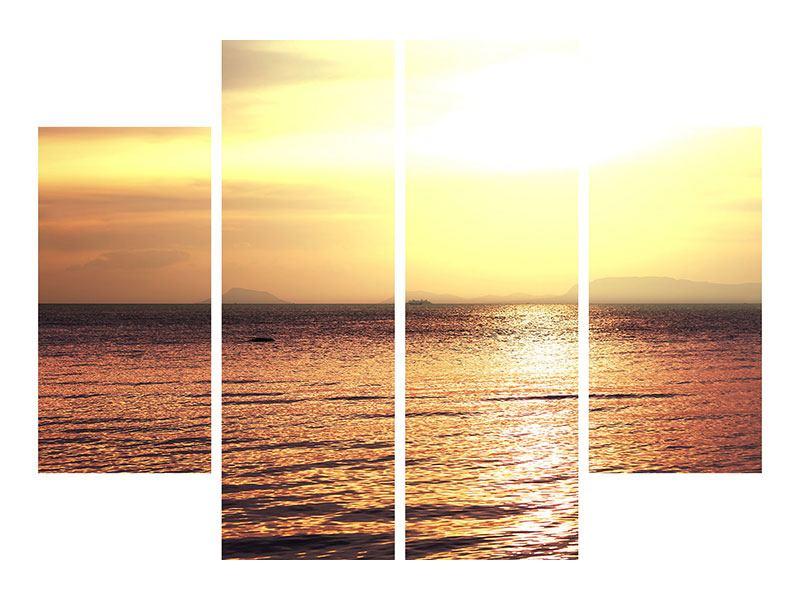 Hartschaumbild 4-teilig Sonnenuntergang an der See