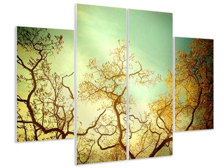 Hartschaumbild 4-teilig Bäume im Herbst