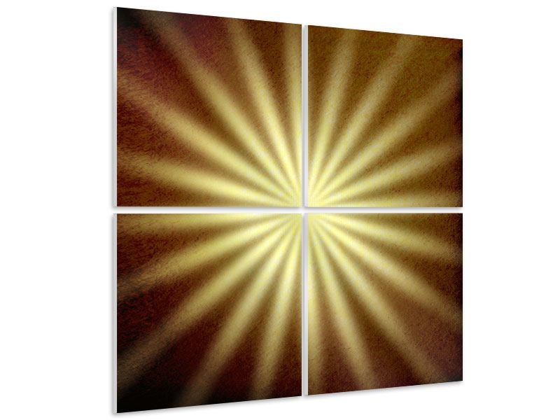 Hartschaumbild 4-teilig Abstrakte Sonnenstrahlen