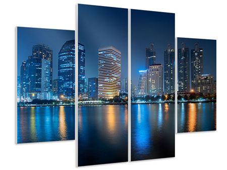 Hartschaumbild 4-teilig Skyline Bangkok bei Nacht