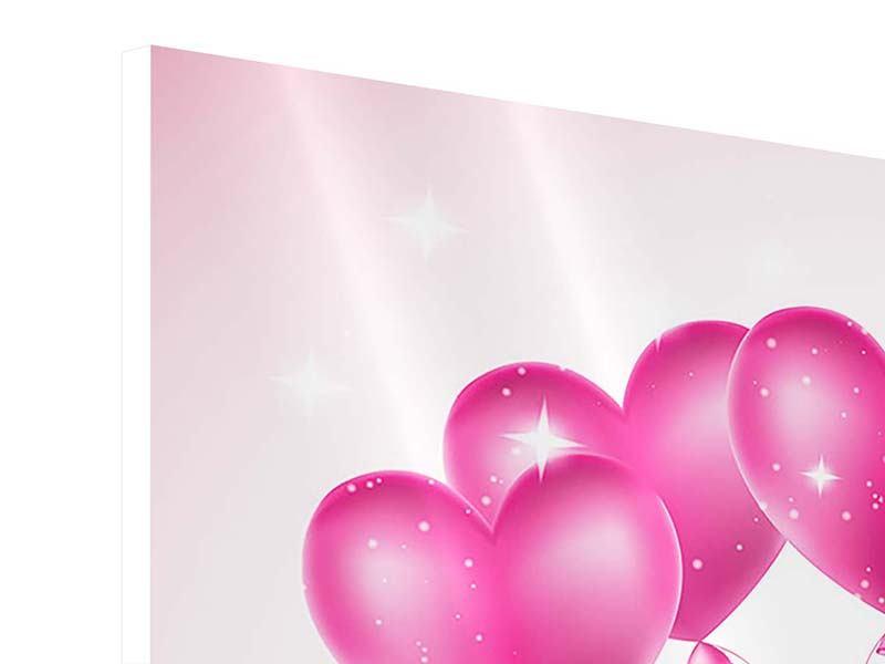 Hartschaumbild 4-teilig Herzballons