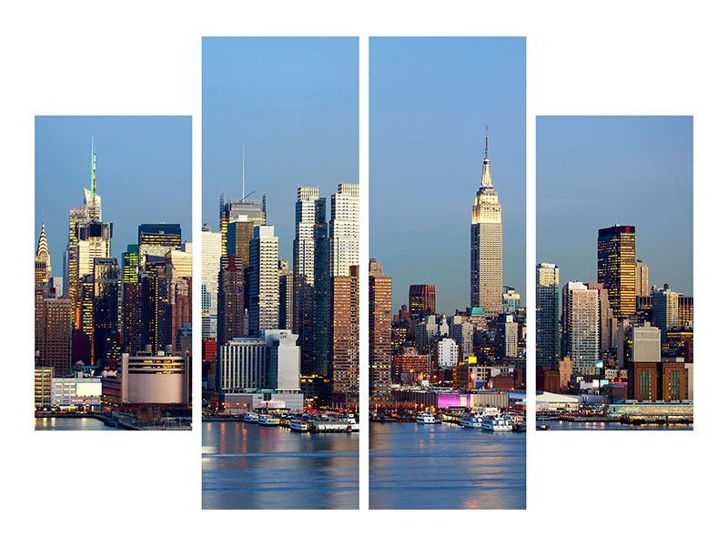 Hartschaumbild 4-teilig Skyline Midtown Manhattan