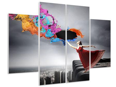 Hartschaumbild 4-teilig Tanz auf dem Wolkenkratzer
