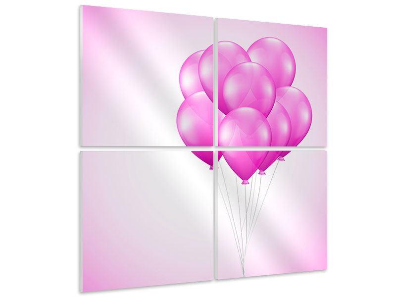 Hartschaumbild 4-teilig Rosarote Luftballons