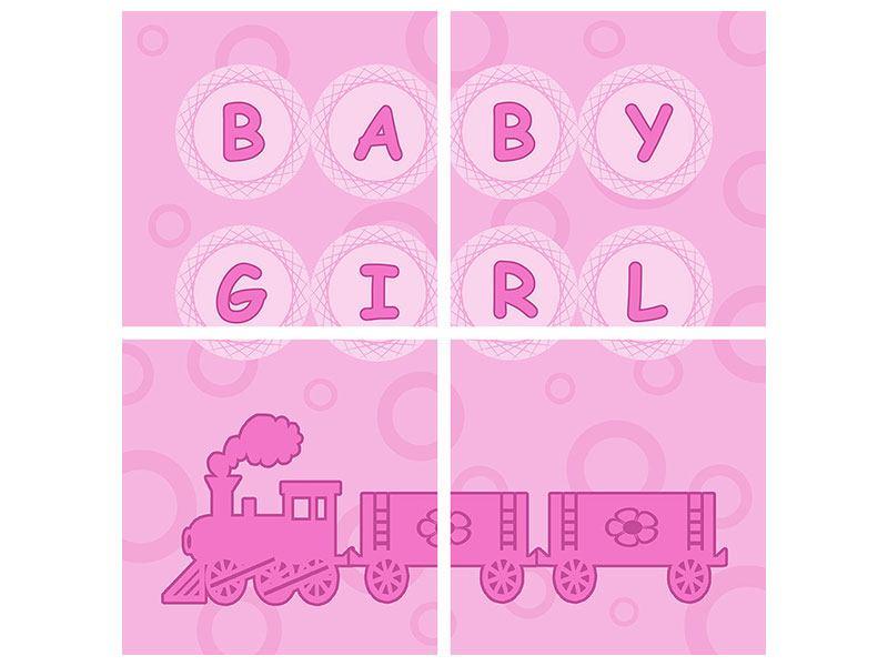 Hartschaumbild 4-teilig Baby-Girl