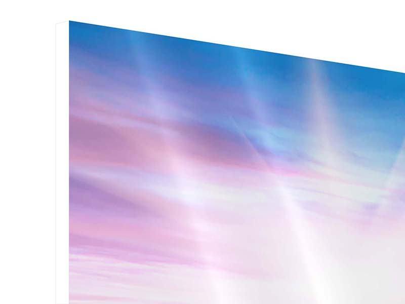 Hartschaumbild 4-teilig Eine Sommerlandschaft bei Sonnenaufgang
