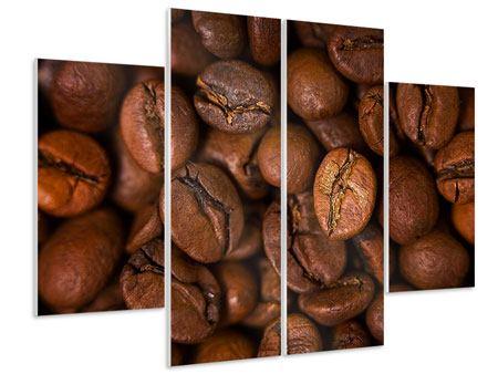 Hartschaumbild 4-teilig Close Up Kaffeebohnen