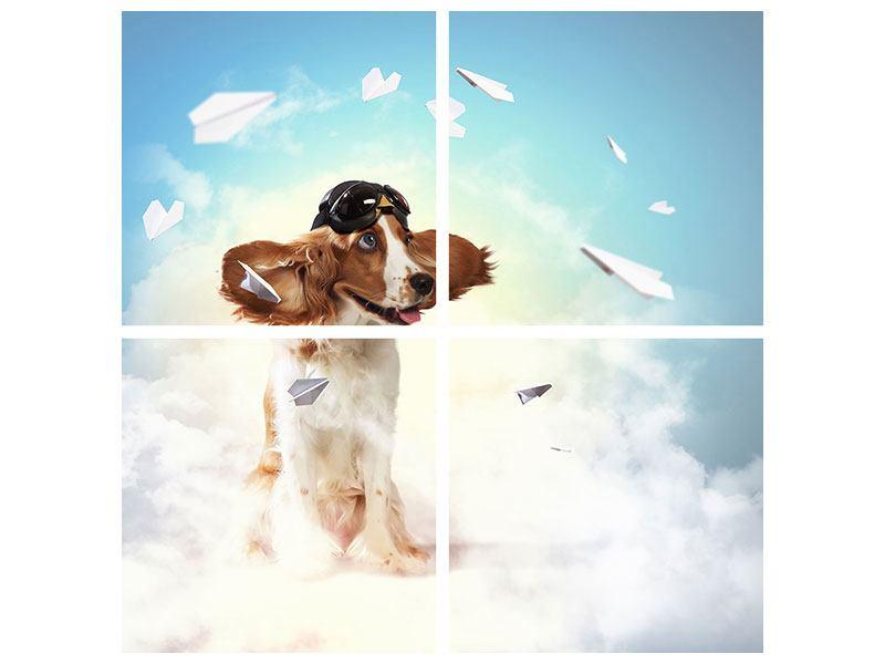 Hartschaumbild 4-teilig Flying Dog