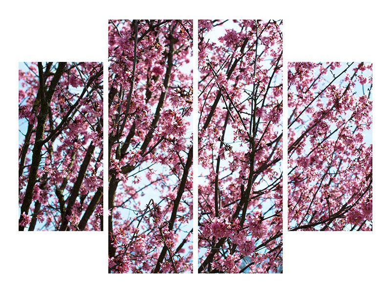 Hartschaumbild 4-teilig Japanische Blütenkirsche