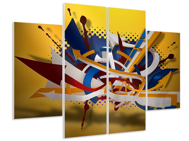 Hartschaumbild 4-teilig Graffiti Art